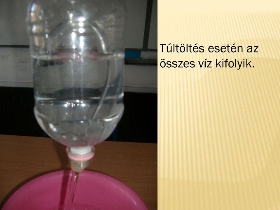 Túltöltés esetén az összes víz kifolyik.