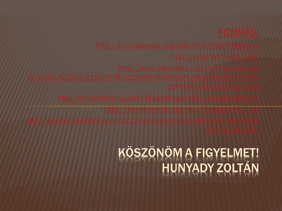 Köszönöm a figyelmet! Hunyady Zoltán