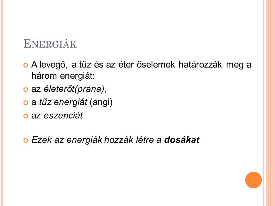 Energiák A levegő, a tűz és az éter őselemek határozzák meg a három energiát: az életerőt(prana),