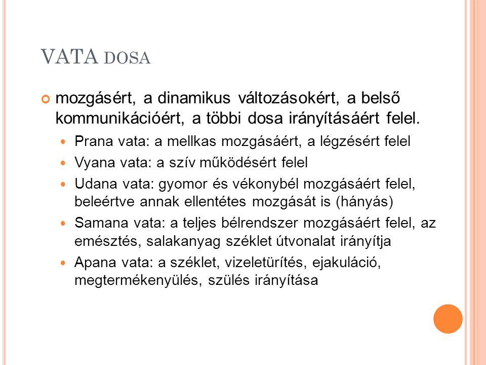 VATA dosa mozgásért, a dinamikus változásokért, a belső kommunikációért, a többi dosa irányításáért felel.