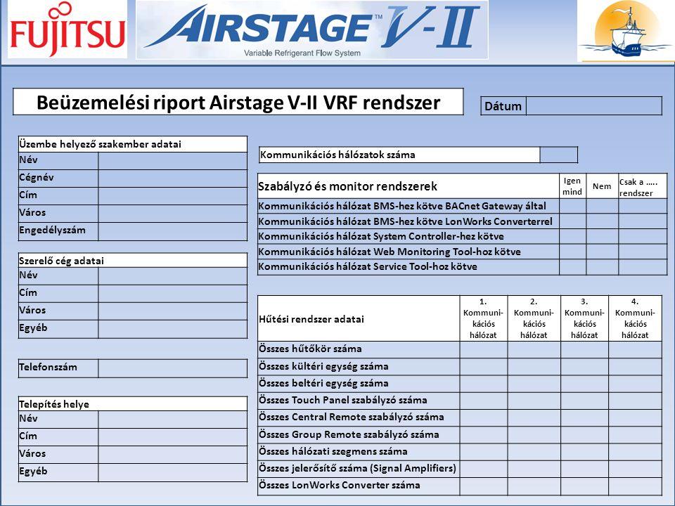 Beüzemelési riport Airstage V-II VRF rendszer