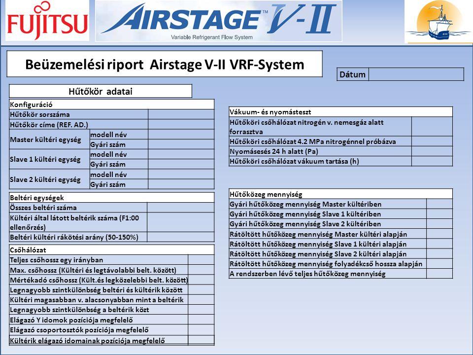 Beüzemelési riport Airstage V-II VRF-System