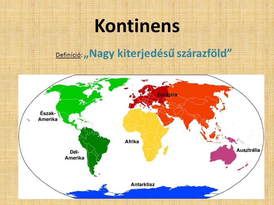 """Kontinens Definíció: """"Nagy kiterjedésű szárazföld"""