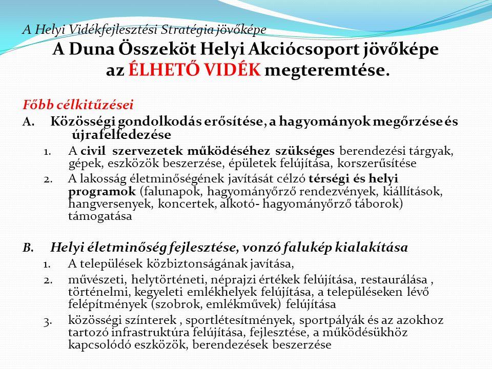 A Duna Összeköt Helyi Akciócsoport jövőképe