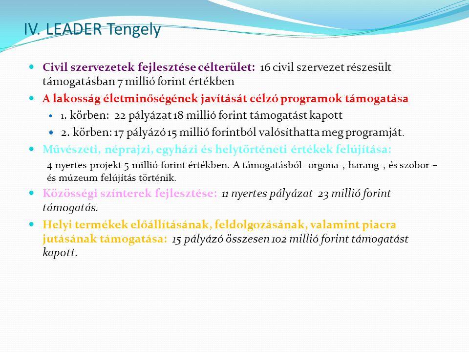 IV. LEADER Tengely Civil szervezetek fejlesztése célterület: 16 civil szervezet részesült támogatásban 7 millió forint értékben.