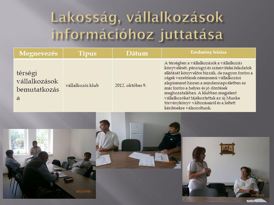 Lakosság, vállalkozások információhoz juttatása