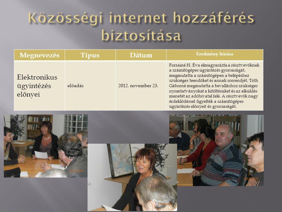 Közösségi internet hozzáférés biztosítása