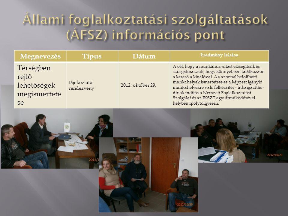 Állami foglalkoztatási szolgáltatások (ÁFSZ) információs pont