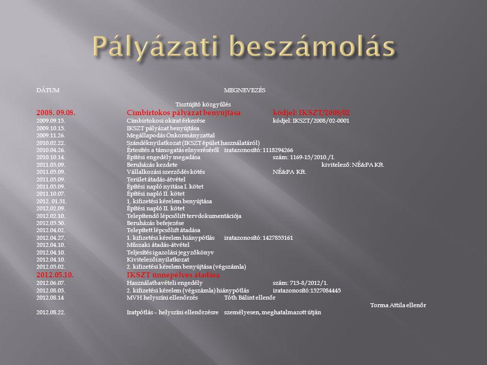 Pályázati beszámolás DÁTUM MEGNEVEZÉS. Tisztújító közgyűlés. 2008. 09.08. Címbirtokos pályázat benyújtása kódjel: IKSZT/2008/02.