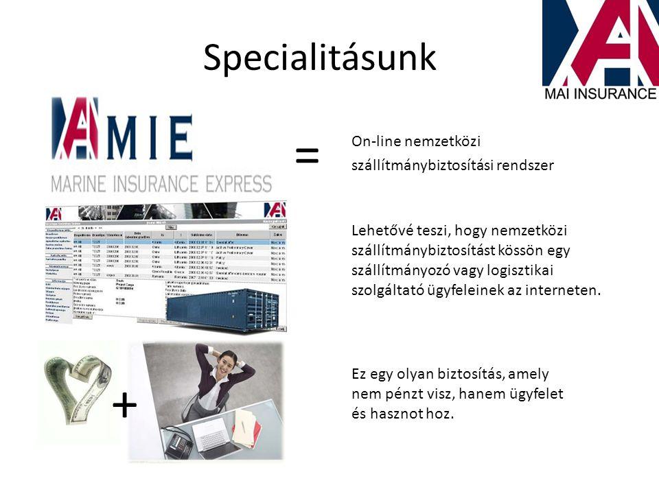 = + Specialitásunk On-line nemzetközi szállítmánybiztosítási rendszer