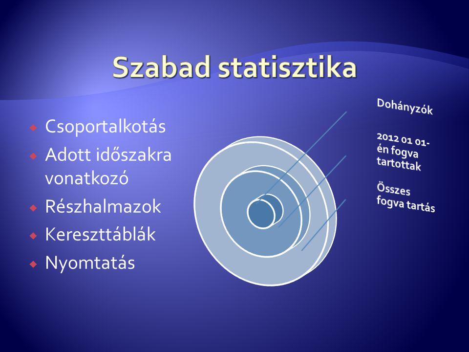 Szabad statisztika Csoportalkotás Adott időszakra vonatkozó