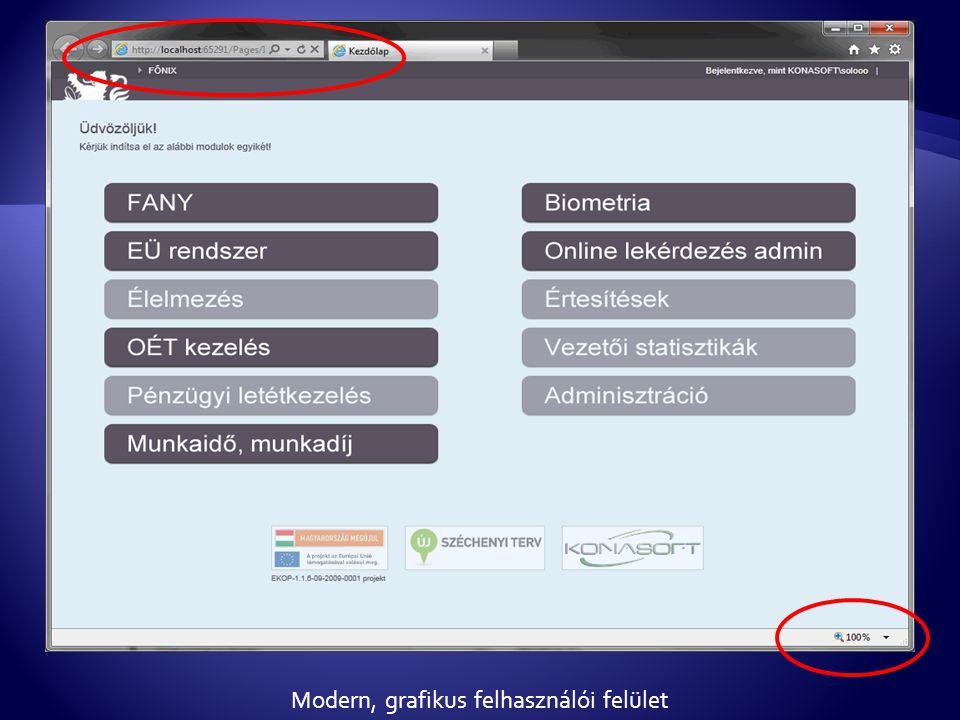 Modern, grafikus felhasználói felület