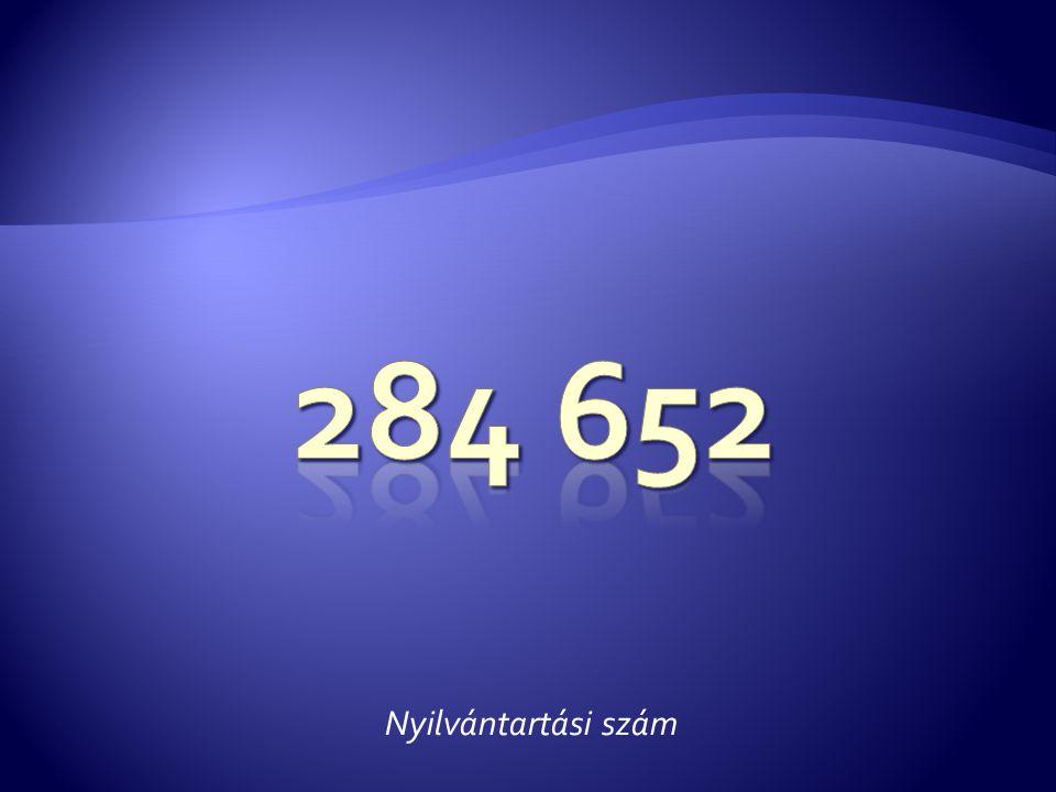 284 652 Nyilvántartási szám