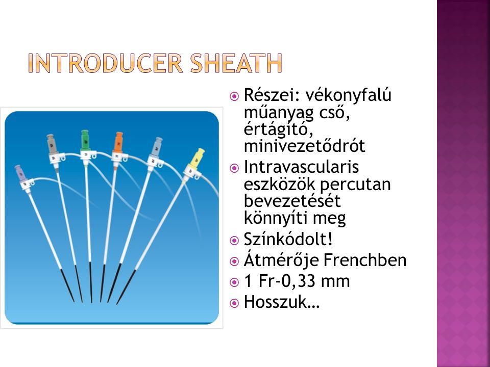 Introducer sheath Részei: vékonyfalú műanyag cső, értágító, minivezetődrót. Intravascularis eszközök percutan bevezetését könnyíti meg.