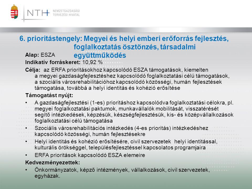 6. prioritástengely: Megyei és helyi emberi erőforrás fejlesztés,