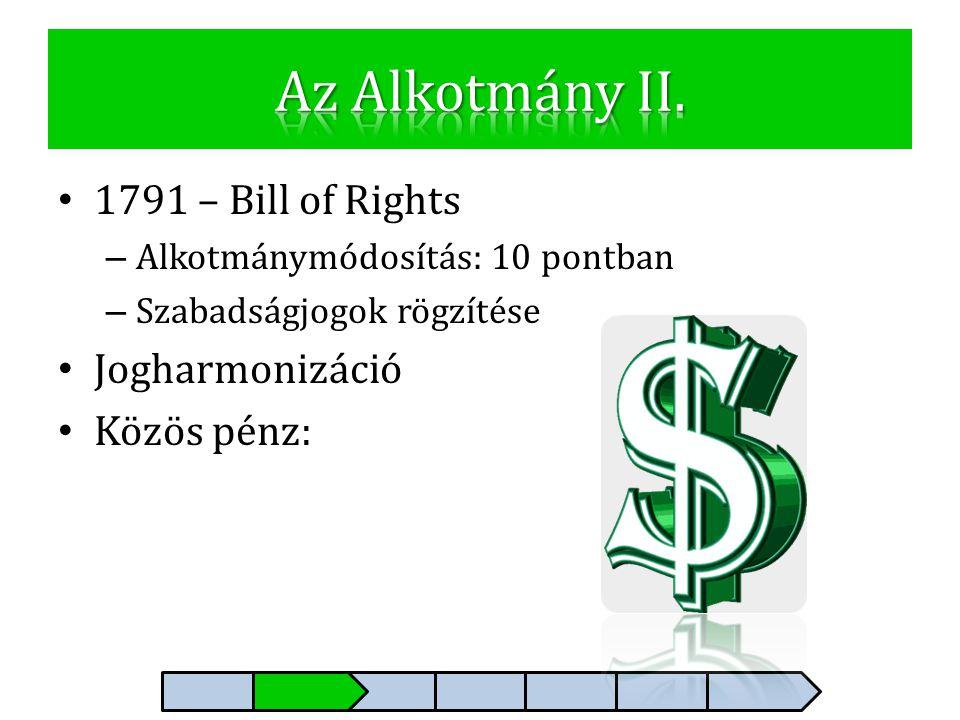 Az Alkotmány II. 1791 – Bill of Rights Jogharmonizáció Közös pénz: