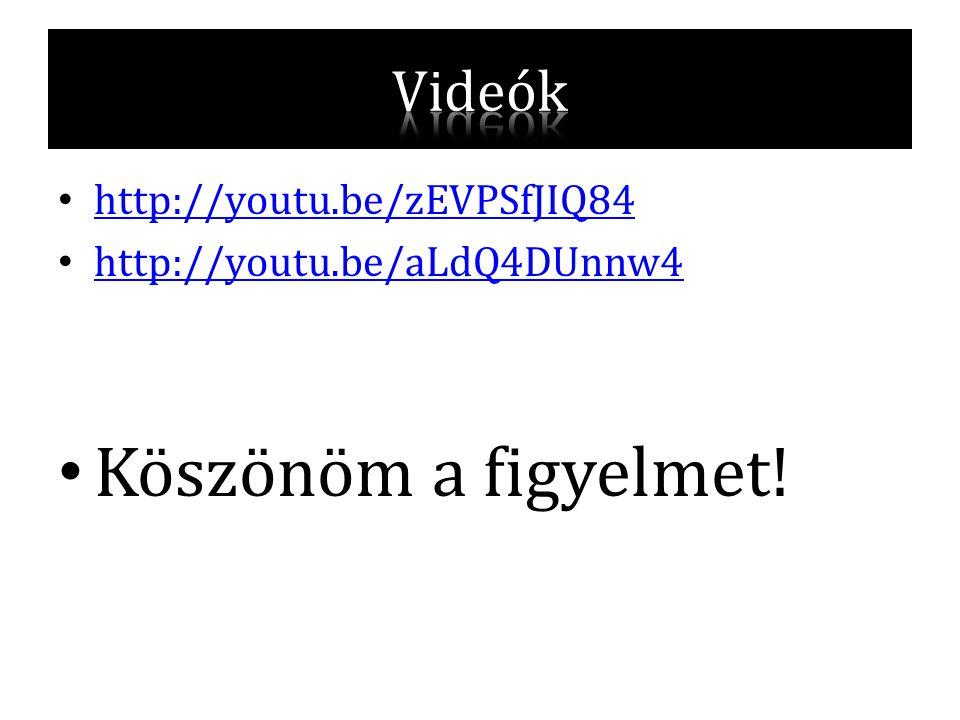 Köszönöm a figyelmet! Videók http://youtu.be/zEVPSfJIQ84