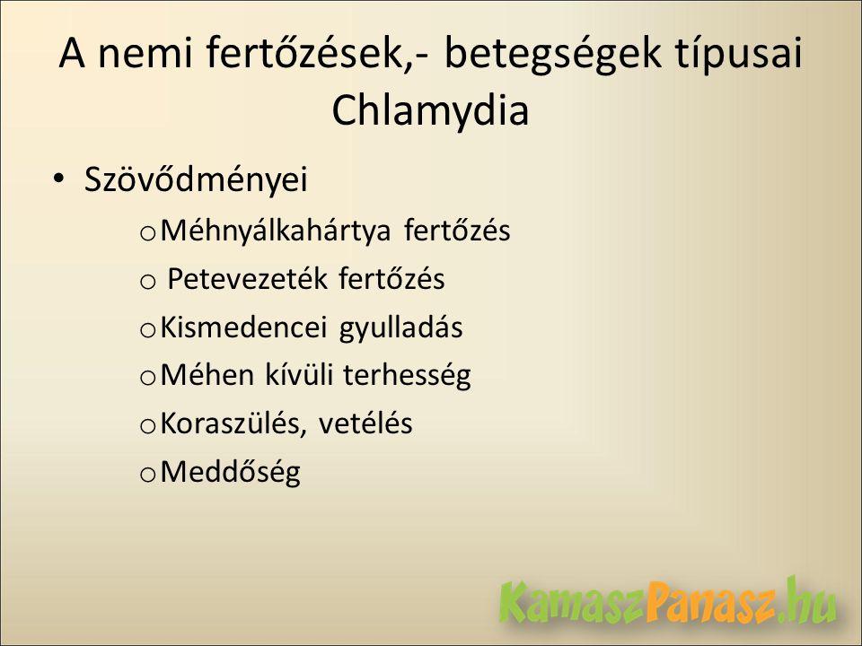 A nemi fertőzések,- betegségek típusai Chlamydia