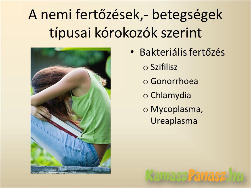 A nemi fertőzések,- betegségek típusai kórokozók szerint