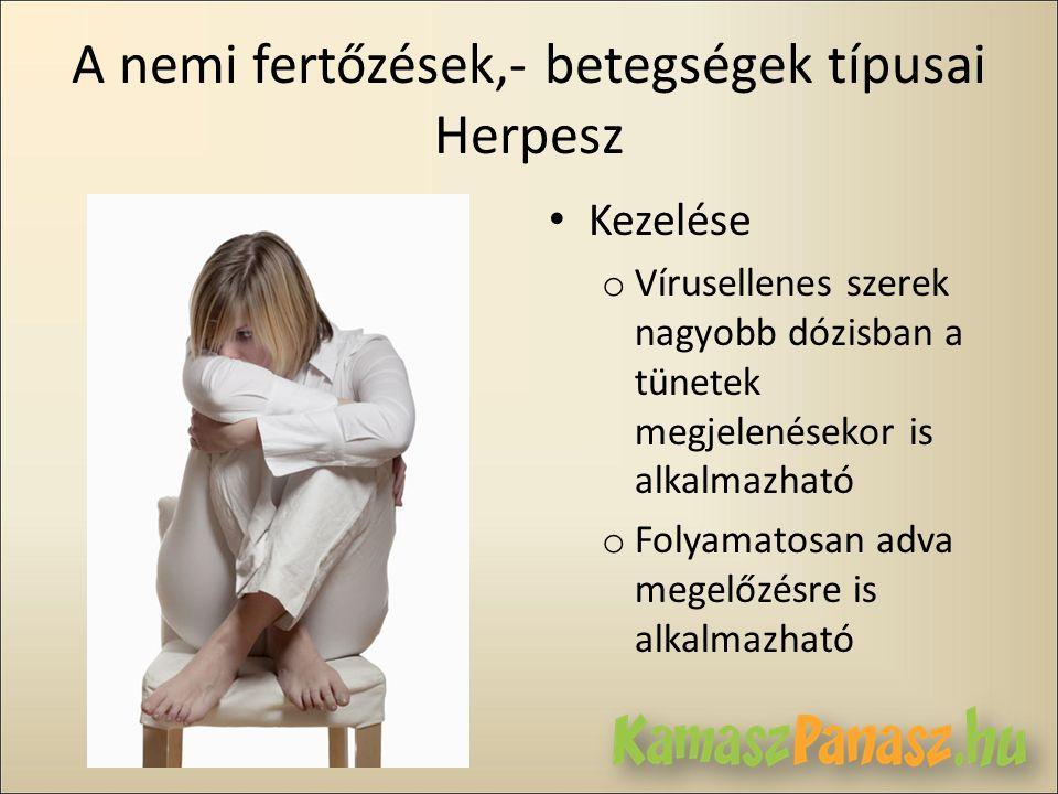A nemi fertőzések,- betegségek típusai Herpesz