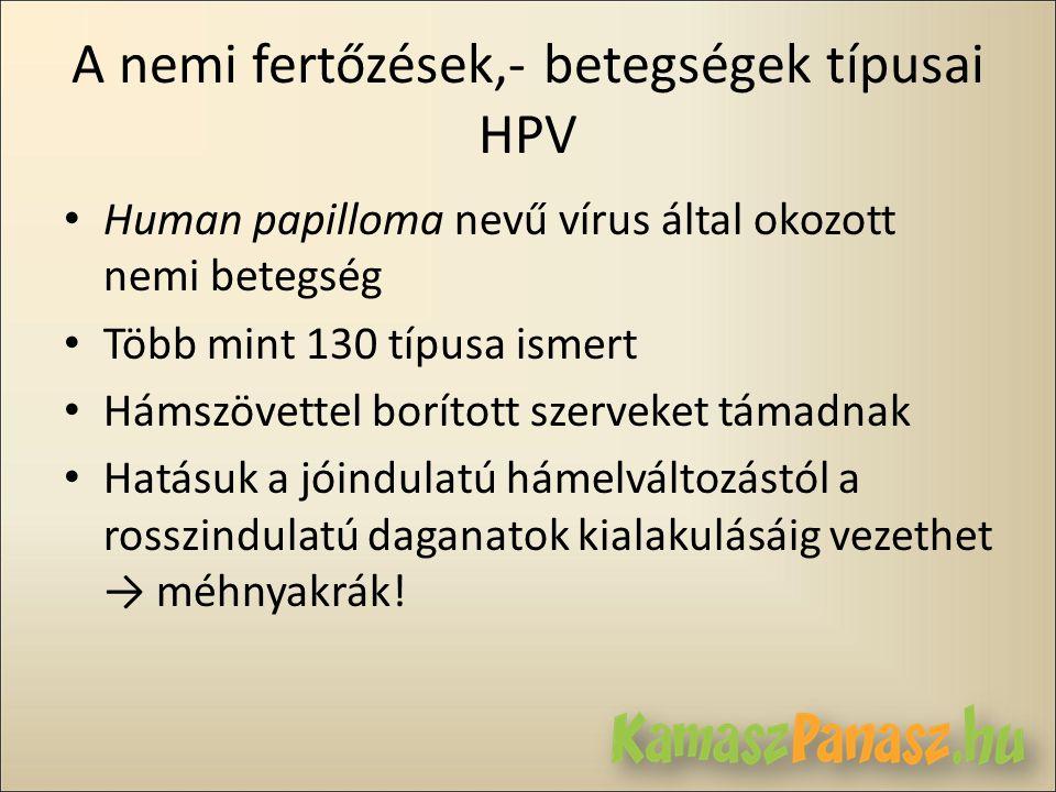 A nemi fertőzések,- betegségek típusai HPV