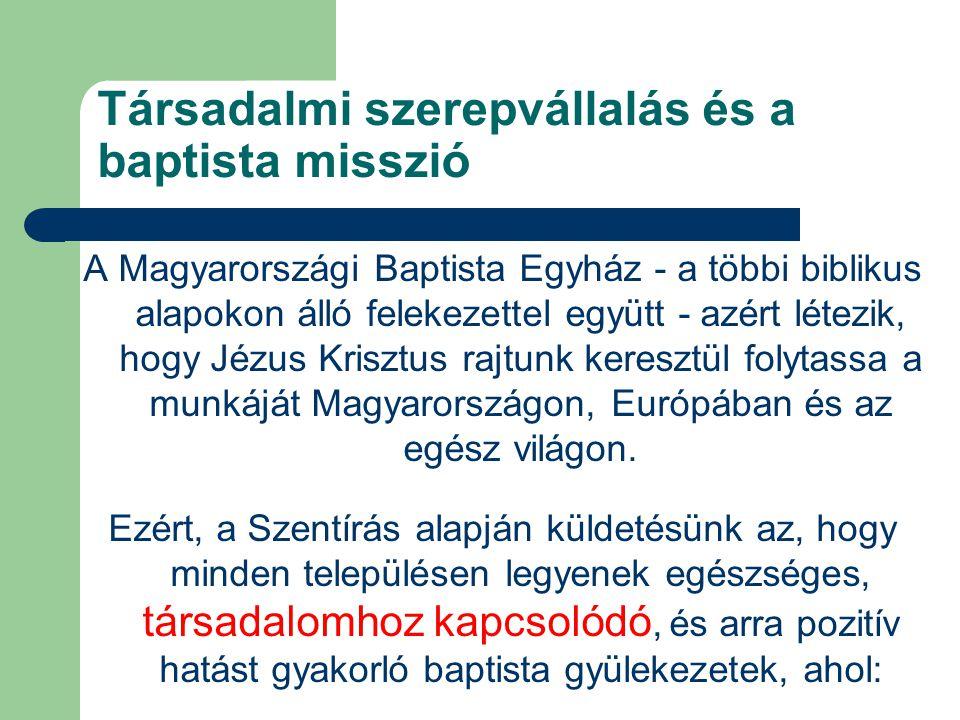 Társadalmi szerepvállalás és a baptista misszió