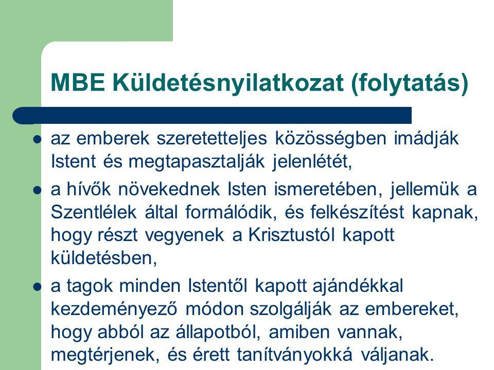 MBE Küldetésnyilatkozat (folytatás)