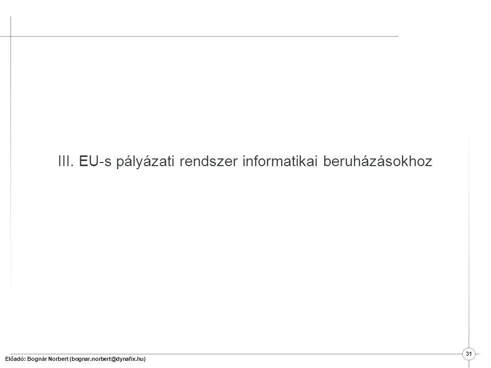 III. EU-s pályázati rendszer informatikai beruházásokhoz