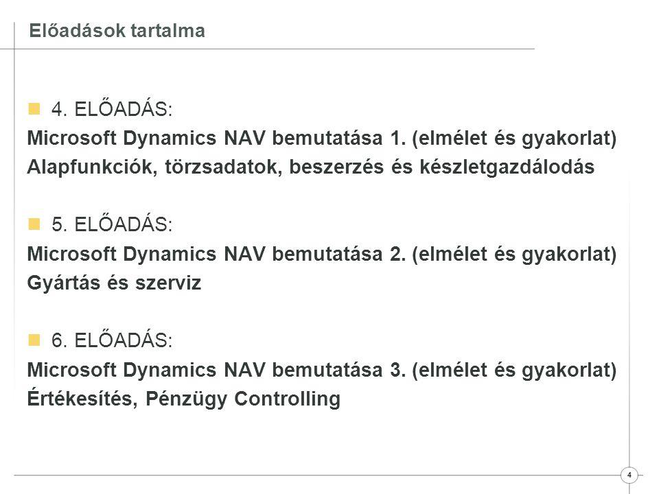 Microsoft Dynamics NAV bemutatása 1. (elmélet és gyakorlat)