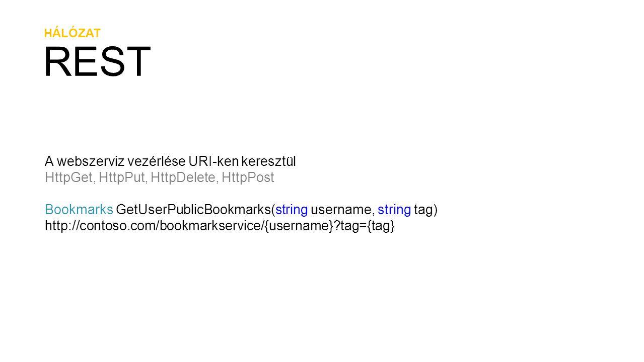 REST A webszerviz vezérlése URI-ken keresztül