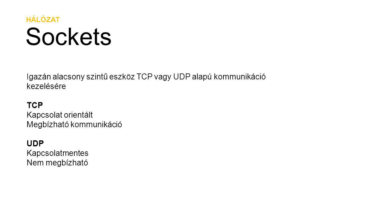 HÁLÓZAT Sockets. Igazán alacsony szintű eszköz TCP vagy UDP alapú kommunikáció kezelésére. TCP. Kapcsolat orientált.