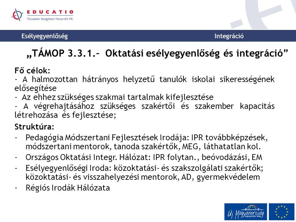 """""""TÁMOP 3.3.1.– Oktatási esélyegyenlőség és integráció"""