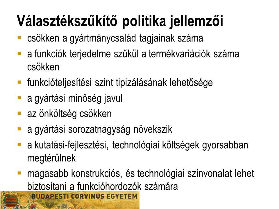 Választékszűkítő politika jellemzői