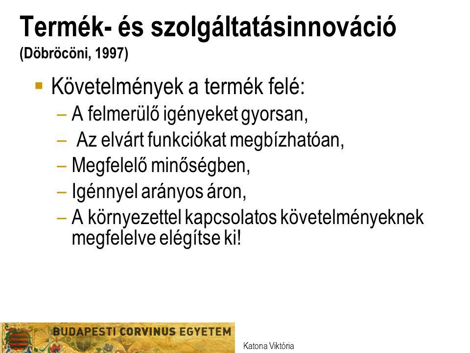 Termék- és szolgáltatásinnováció (Döbröcöni, 1997)