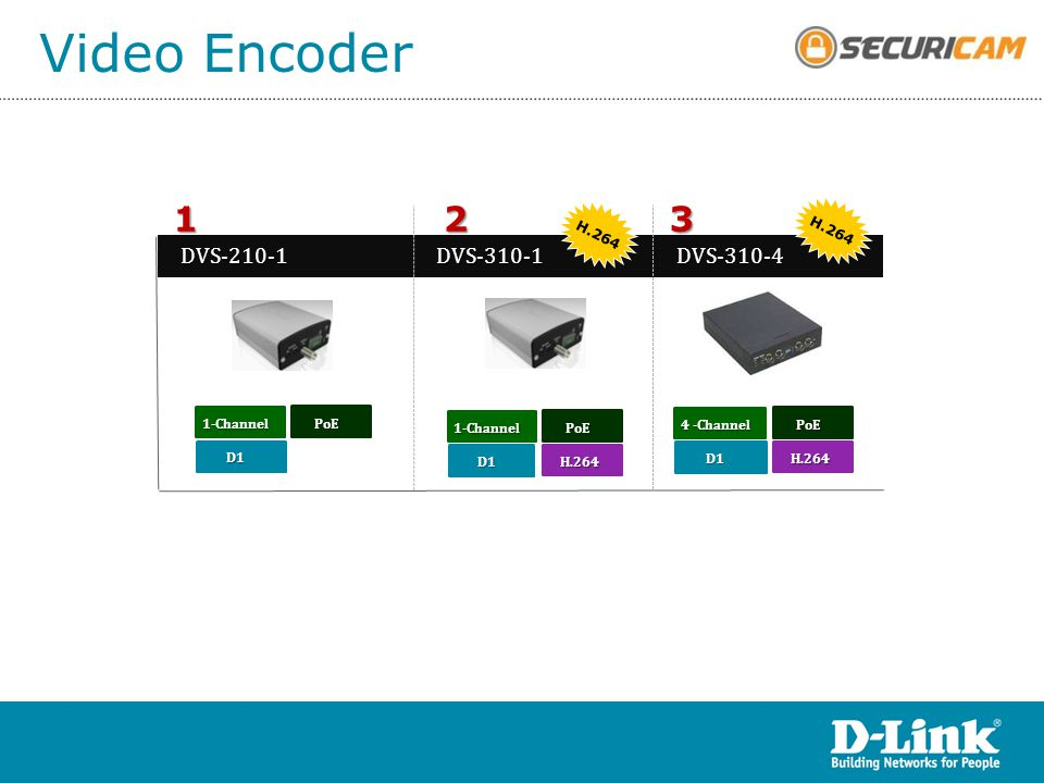Video Encoder 3 2 1 DVS-210-1 DVS-310-4 DVS-310-1 H.264 H.264