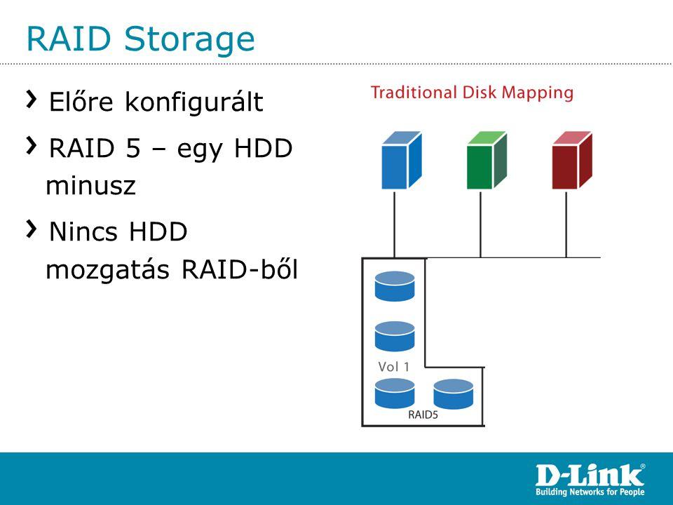 RAID Storage Előre konfigurált RAID 5 – egy HDD minusz