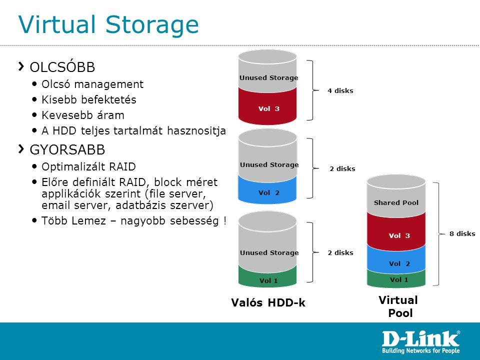 Virtual Storage OLCSÓBB GYORSABB Olcsó management Kisebb befektetés