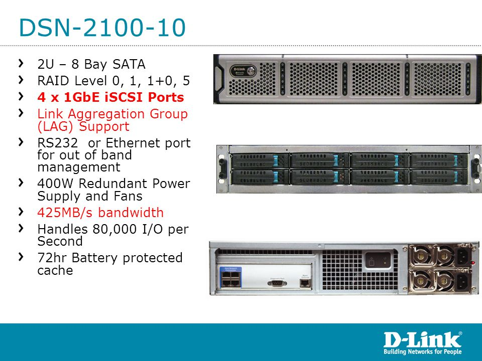 DSN-2100-10 2U – 8 Bay SATA RAID Level 0, 1, 1+0, 5