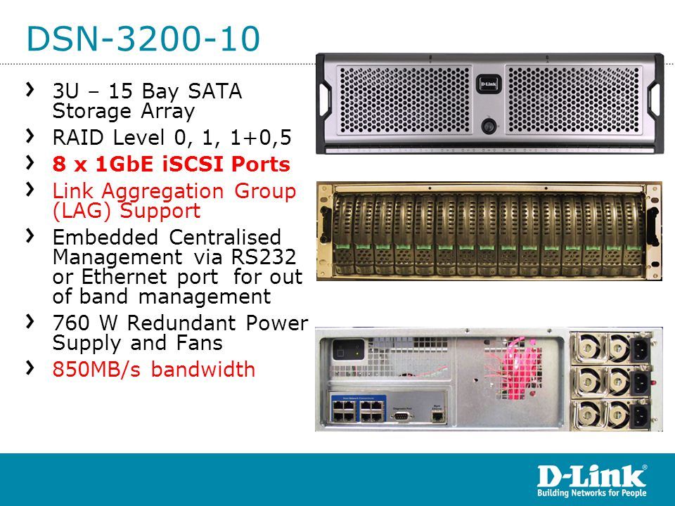 DSN-3200-10 3U – 15 Bay SATA Storage Array RAID Level 0, 1, 1+0,5