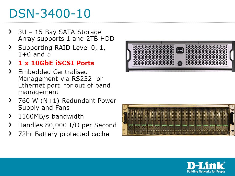 DSN-3400-10 3U – 15 Bay SATA Storage Array supports 1 and 2TB HDD