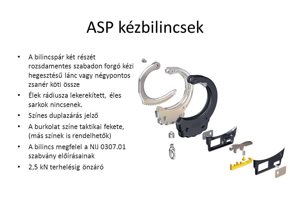 ASP kézbilincsek A bilincspár két részét rozsdamentes szabadon forgó kézi hegesztésű lánc vagy négypontos zsanér köti össze.