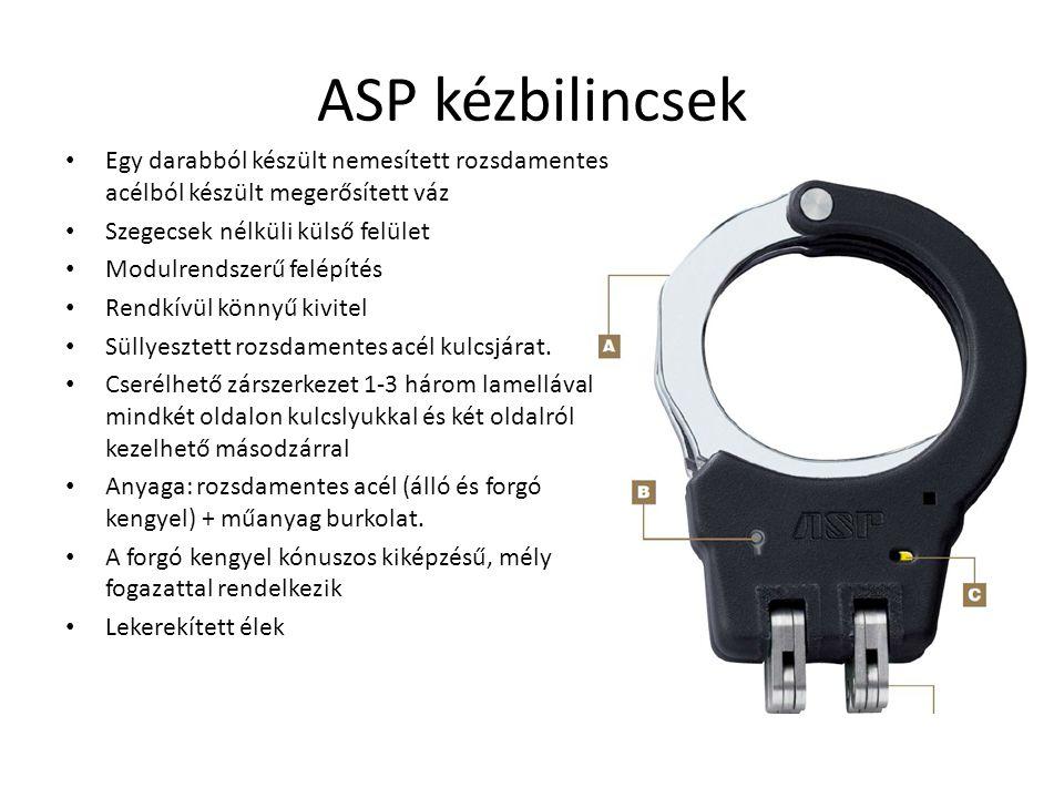 ASP kézbilincsek Egy darabból készült nemesített rozsdamentes acélból készült megerősített váz. Szegecsek nélküli külső felület.