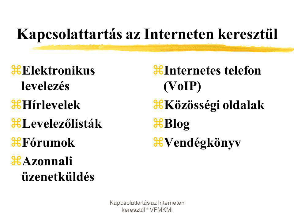 Kapcsolattartás az Interneten keresztül