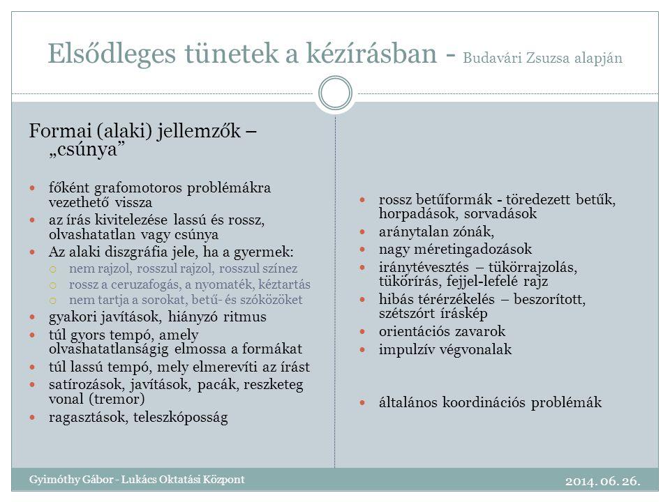 Elsődleges tünetek a kézírásban - Budavári Zsuzsa alapján