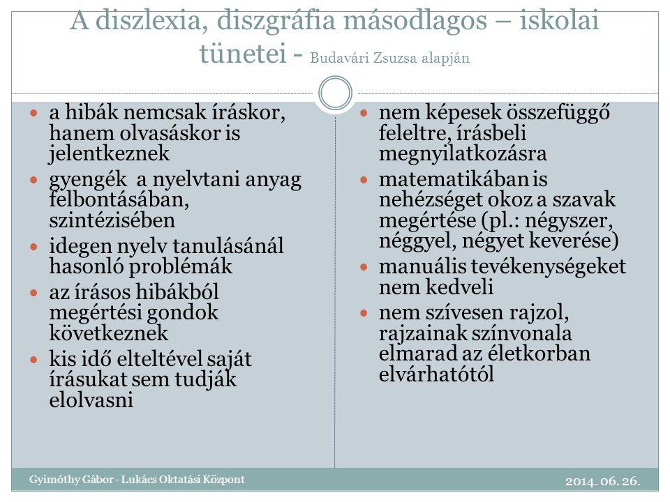 A diszlexia, diszgráfia másodlagos – iskolai tünetei - Budavári Zsuzsa alapján