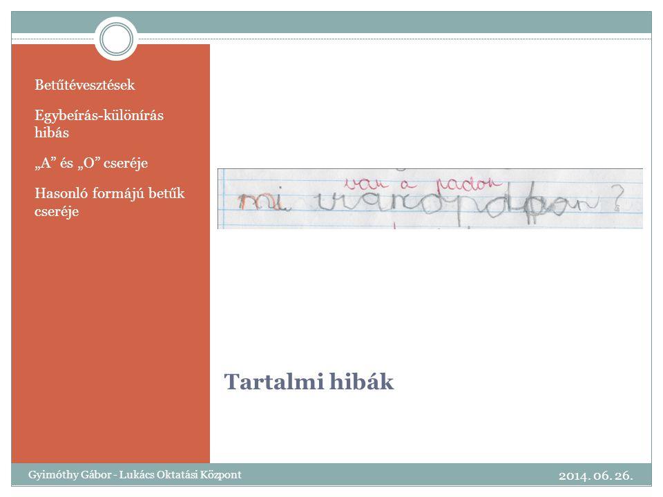 Tartalmi hibák Betűtévesztések Egybeírás-különírás hibás