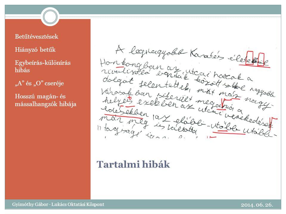 Tartalmi hibák Betűtévesztések Hiányzó betűk Egybeírás-különírás hibás