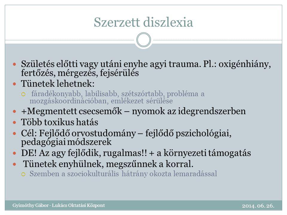 Szerzett diszlexia Születés előtti vagy utáni enyhe agyi trauma. Pl.: oxigénhiány, fertőzés, mérgezés, fejsérülés.