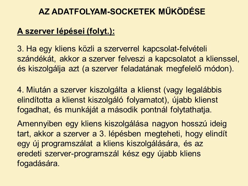 AZ ADATFOLYAM-SOCKETEK MŰKÖDÉSE