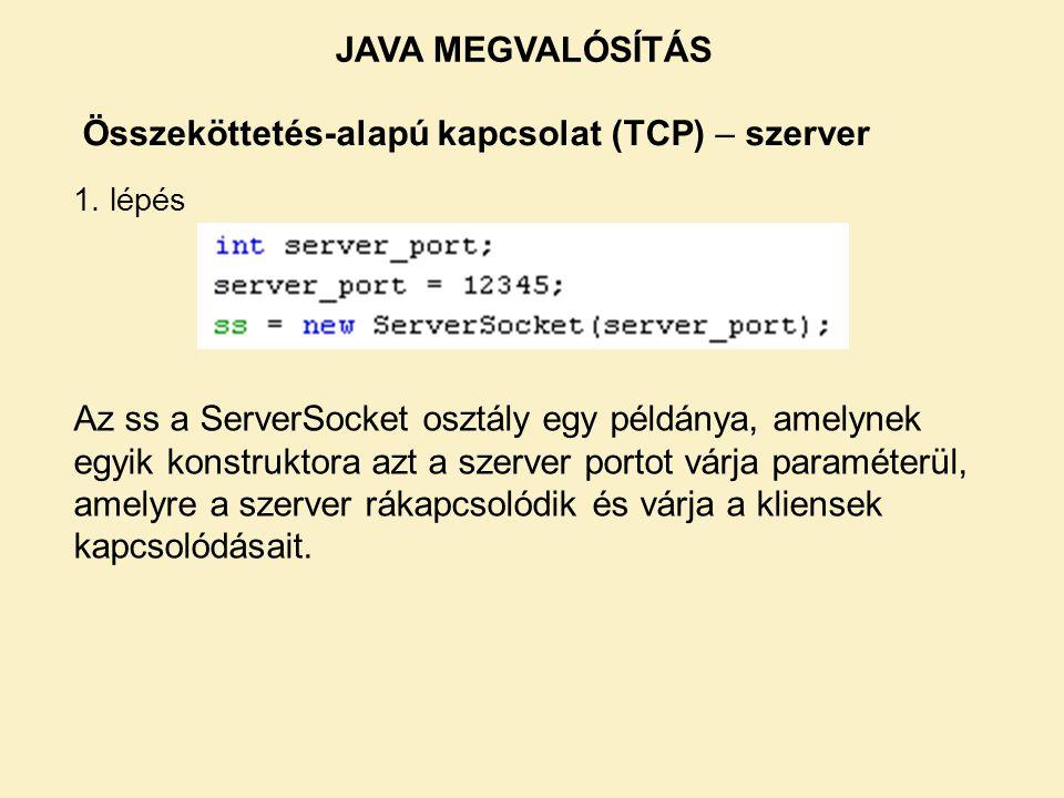 JAVA MEGVALÓSÍTÁS Összeköttetés-alapú kapcsolat (TCP) – szerver. 1. lépés.